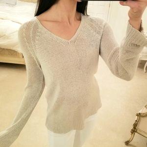 DKNY Cream Gray V Neck Knit Sweater, Small